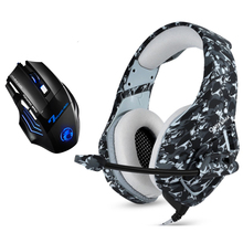 Camouflage PS4 Gaming Headphones 3 5mm Wired Stereo Bass Headsets Casque with Microphone + Gaming Mice For PS4 PC Gamer XBOX cheap KOTION EACH Hybrid technology CN(Origin) 117±3dBdB None 1 2mm For Internet Bar for Video Game Common Headphone For Mobile Phone