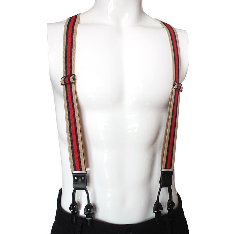 3cm Width Men Unisex Suspender 6 Clips Striped Plating Buckle Luxury Elastic Belt Tight Pants Brace