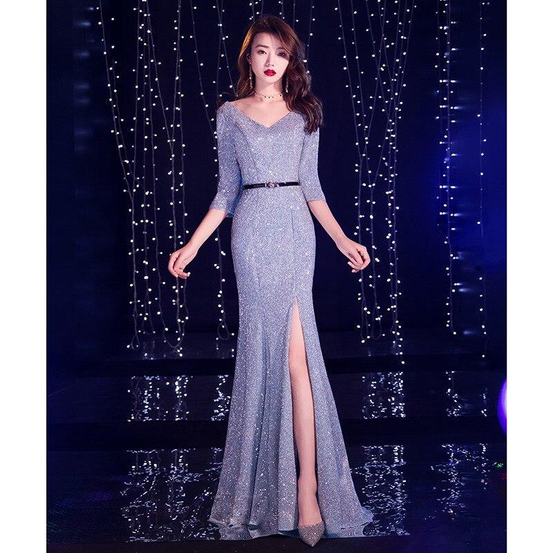 2020 Vestido De Festa Gengli Star Evening Dress Female 2020 New Banquet Noble Long Music Student Art Examination Fish Tail Host