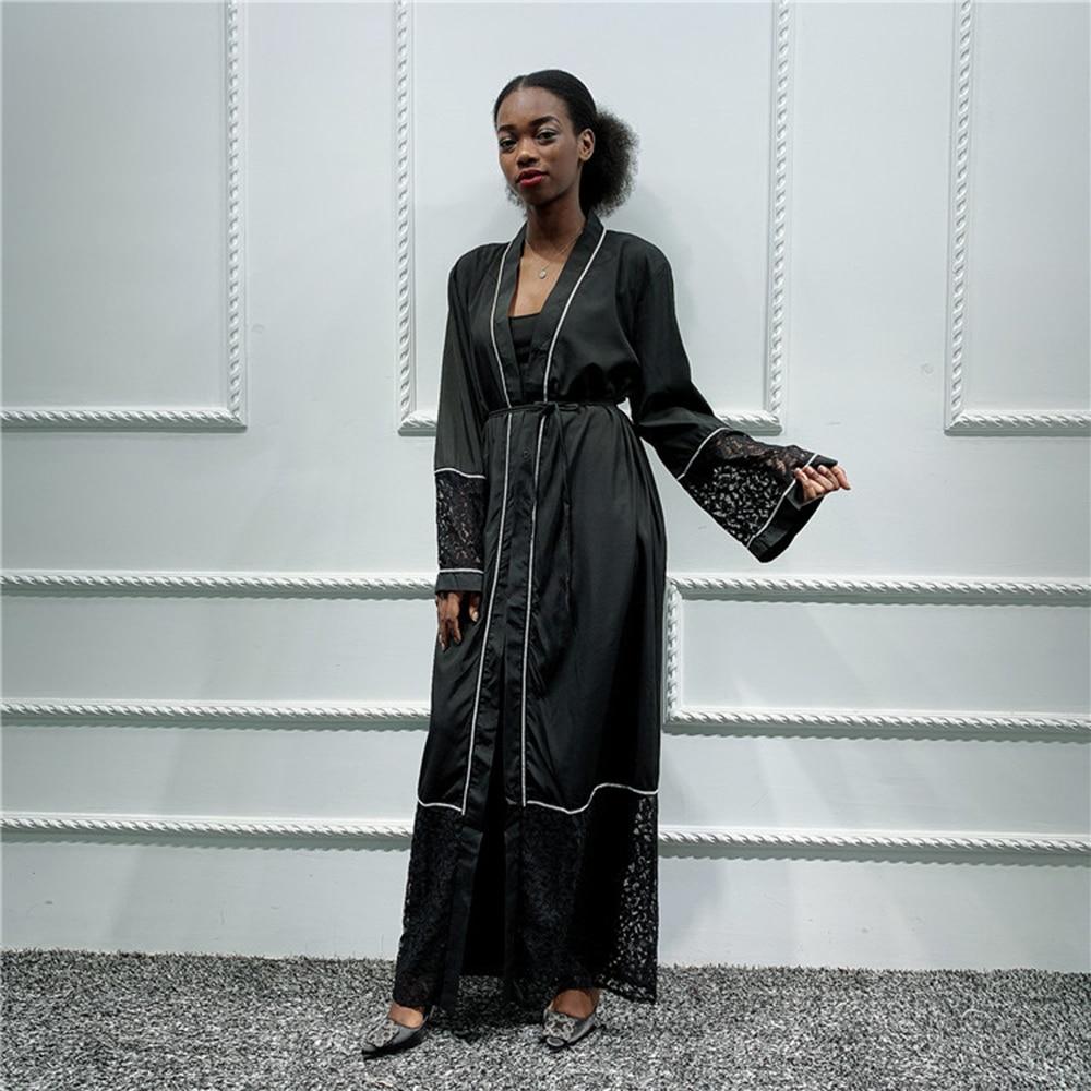 Open Lace Abaya Kimono Cardigan Hijab Muslim Dress Women Saudi Turkish Islamic Clothing African Kaftan Dubai Caftan Pakistan