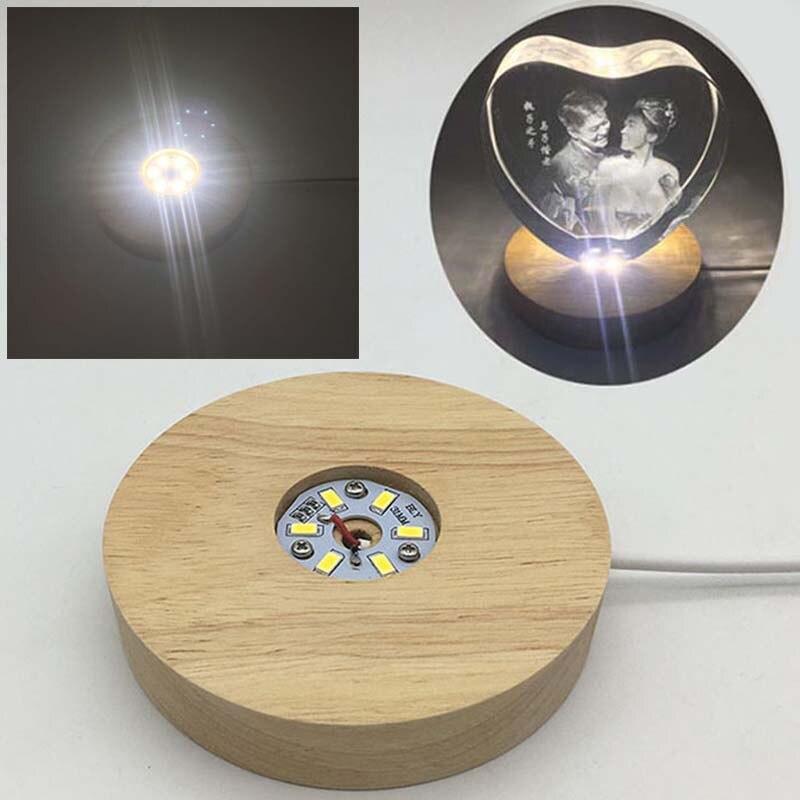 1 lumière de pc LED lumière de Base 3D LED cristal verre trophée Laser support affichage coloré support rond Base lumière chaude