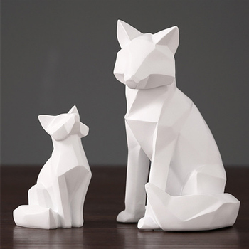white abstract geometric fox sculpture ornaments Cute FoxTV modern home decorations Animal statues desktop decorations Love Gift