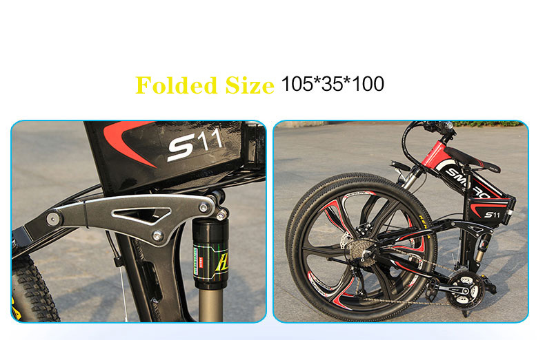 "S11F 26"" 48v 10AH 350W folding fat tire electric bicycle with hidden battery 8"