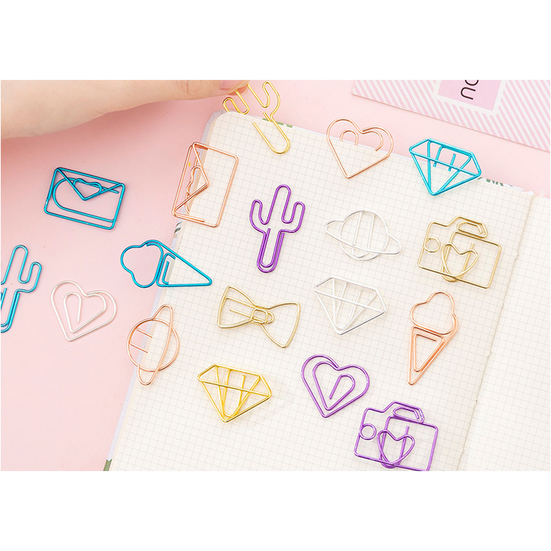10packs/lot  Kawaii Love Cactus Rose Gold Metal Paper Clip Stationery Book Accessories School Office Supply Escolar Papelaria