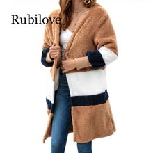 Rubilove Cardigan Solid Patchwork Long Loose Sweater Women 2019 Autumn Winter Female Plush Coat Casual Knitted Sweaters Str