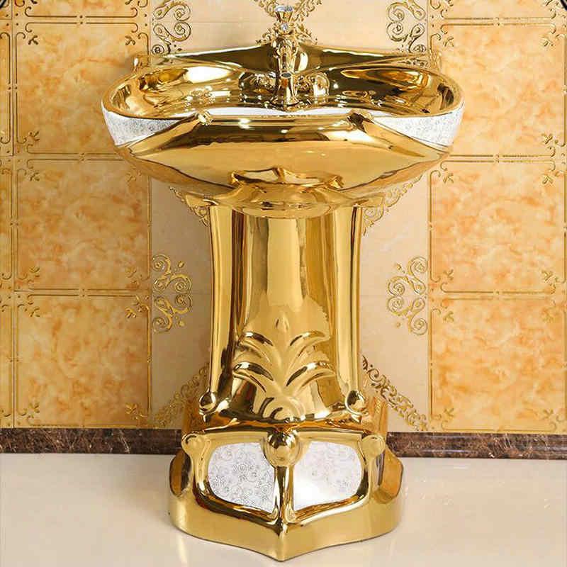 Mosaik Gold Vintage Luxious Sockel Waschbecken Keramik Bad Waschbecken Mit Stand Pedestal Waschbecken Close-Gekoppelt Suite Mit Überlauf