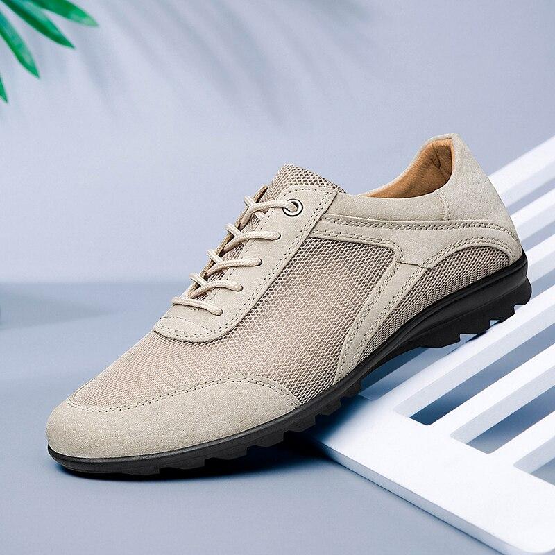 Casual Sneakers Shoes Men Genuine Leather Sports Shoes Comfortable Breathable Mesh Men Casual Shoes Fashion Men Shoes Big Size