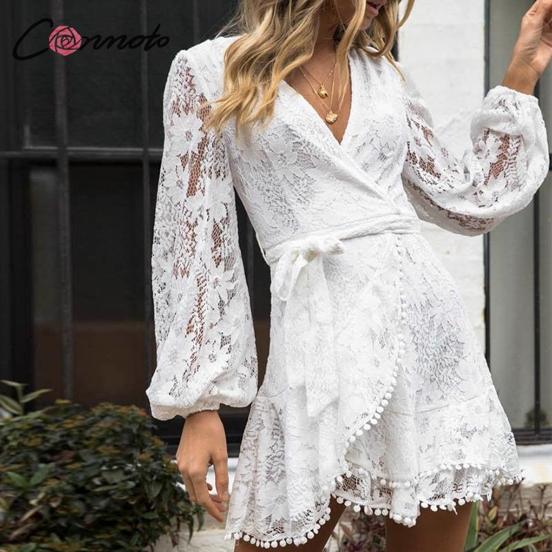 Conmoto Women Fashion Embroidery Short Dress Female Autumn Winter Long Sleeve High Waist Sashes Dress Hollow Out Vestidos Larger