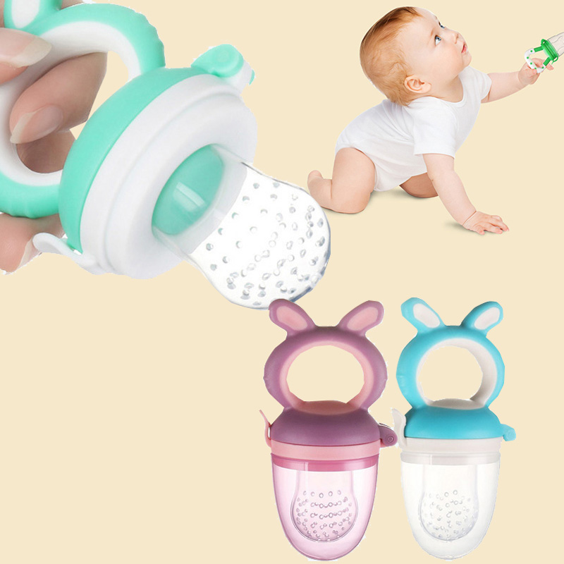10pcs Silicone Pacifier Holder Baby Eat Vegetable Food Fruit Bite Bag Safe Kids Feeding Training Pacifier Food Feeder Soother