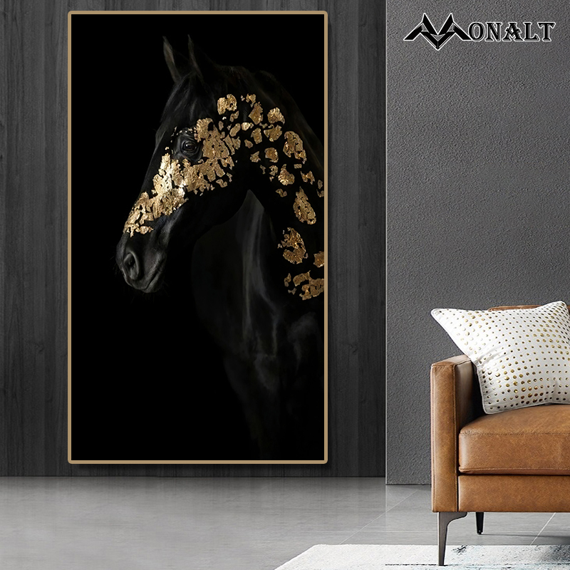 Canvas Painting Wall Art HD Golden And Black Horse Posters Hoom Decor Living Room Nordic Modern  Creativity Animal Print Picture