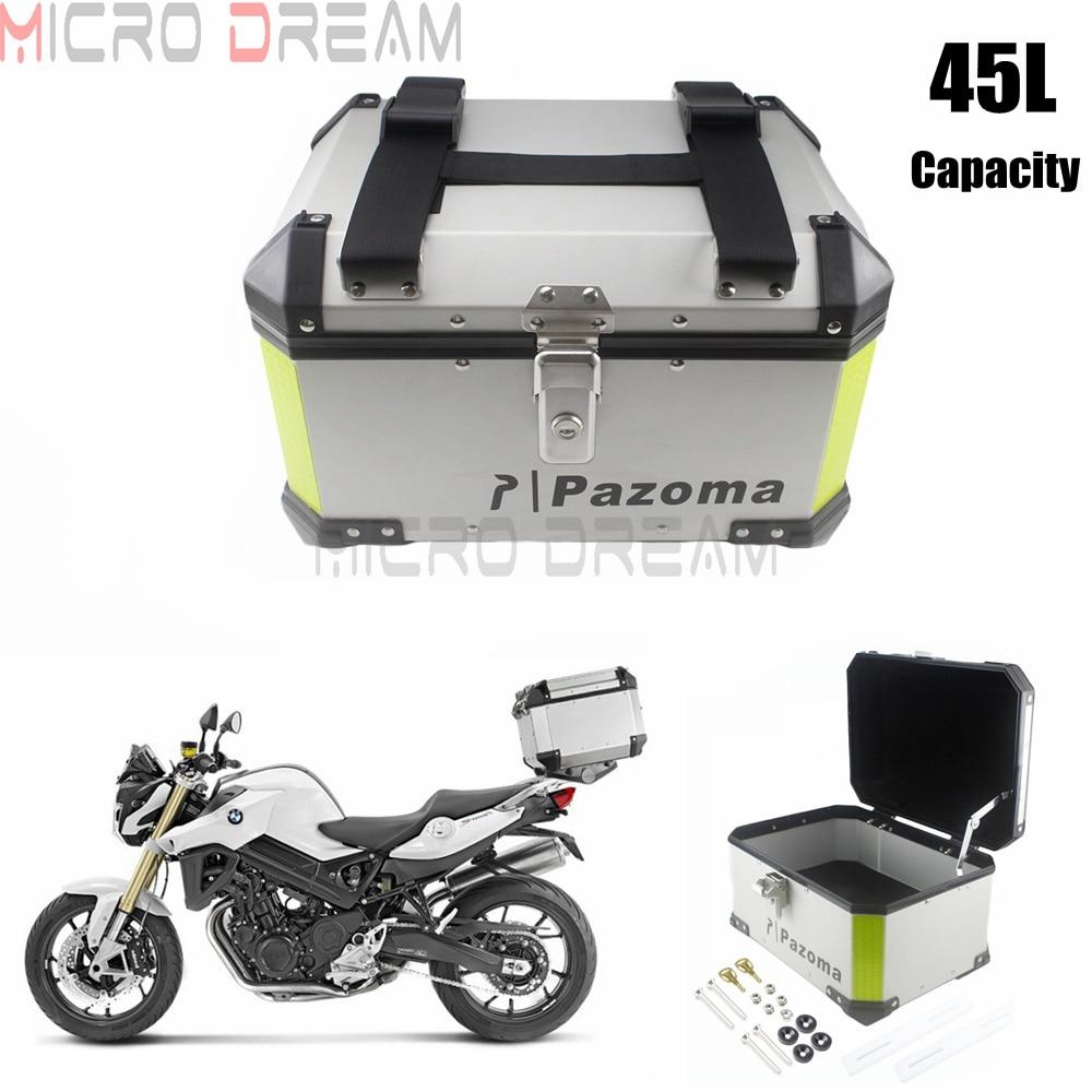 motocicletas universais bloquear bagagem carga topcase 45l caixa da cauda de aluminio caso moto de rua