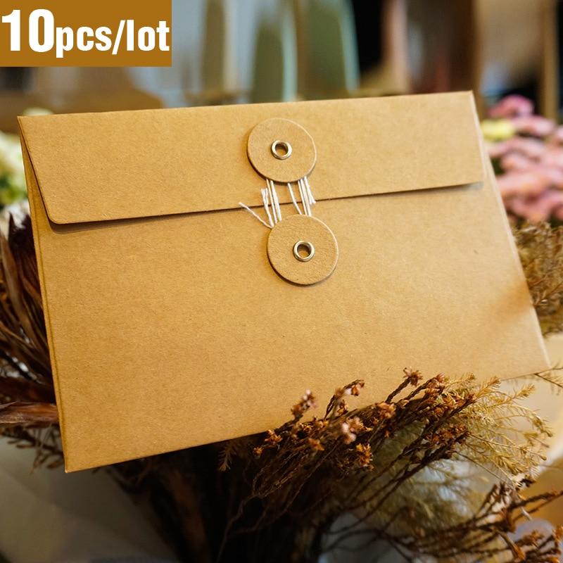 10pcs/lot Vintage Kraft Paper Envelopes Envelopes For Invitations Gift Card Envelope Wedding Letter Set Aesthetic Stationery