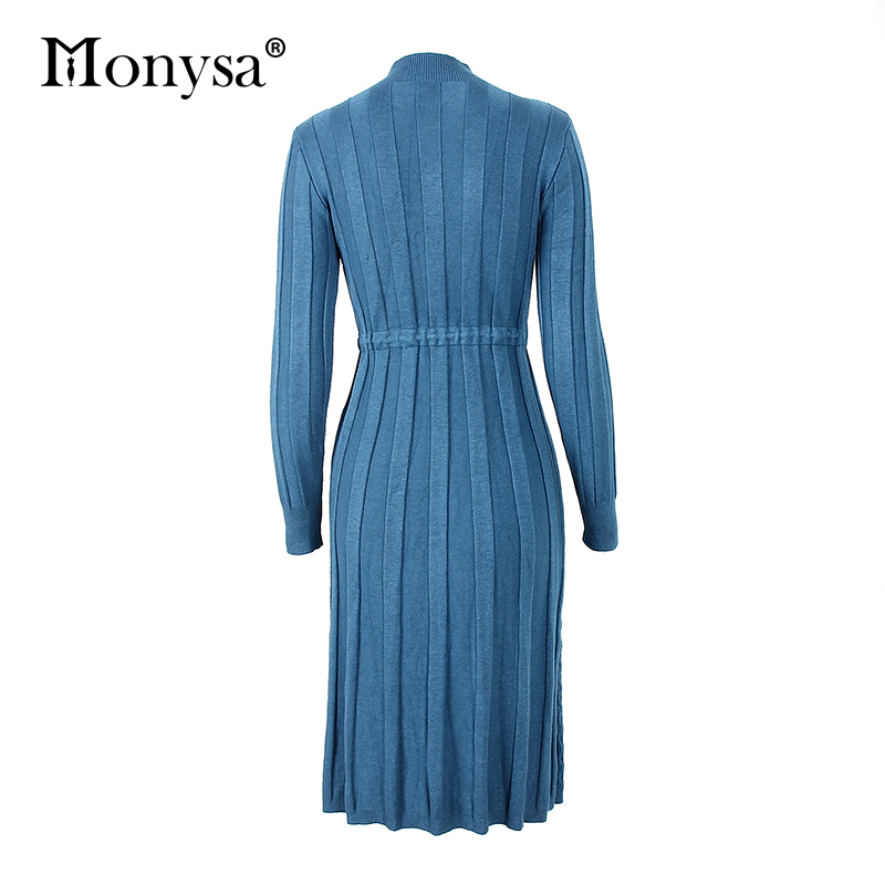 Autumn Winter Dresses 2019 New Arrival Fashion Casual Knee Length Knitted Dress Ladies Long Sleeve Sweater Dresses Black Blue 87
