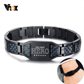 Vnox Personalized To Dad Bracelets for Men Black Stainless Steel Carbon Fiber Link Chain Wristband Custom Father's Day Gift vnox customize name quotes leather bracelets for men glossy stainless steel layered braided bangle personalized dad husband gift