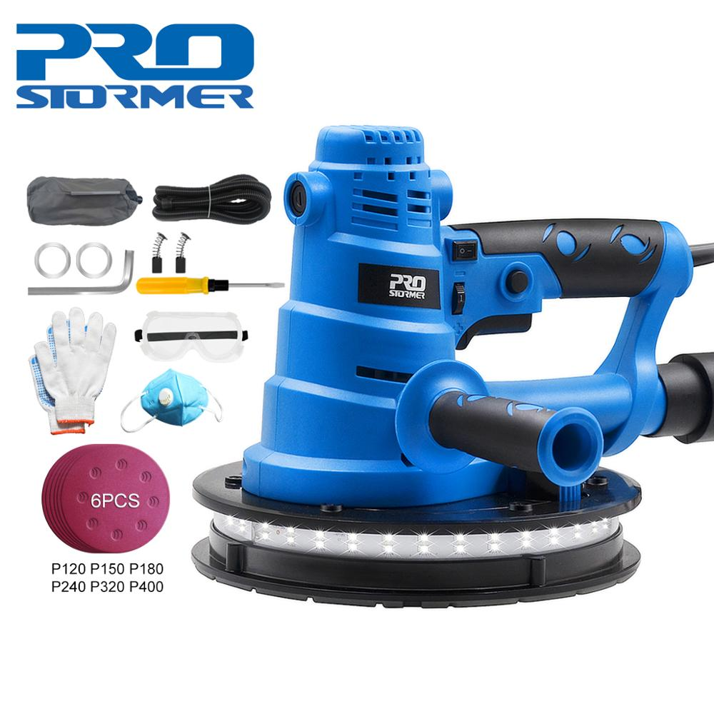 PROSTORMER 230V 750W Wall polishing machine Grinding Double handle operation Large area grinding LED light Nine tool accessories
