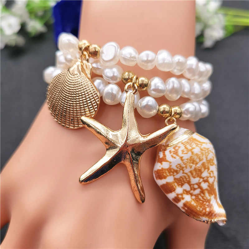 Gold Color Starfish Conch Cowrie Shell Bracelets for Women Imitation Pearl Bead Charm Bracelet 2019 New Fashion Beach Jewelry