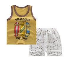Boys Clothes Set Summer Toddler Baby Clothes Boys Cartoon Vest Tops Print Shorts 2pcs Beach Kids Outfits Sets Child Tracksuit(China)