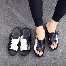 Men One Word Trend Beach Cool Slippers Open Toe Non-slip Personality Outside Wear Strap Slippers 2019 new trend embroidery word drag men outside wearing damp slippers anti slip wear thick bottom home bathroom slippers