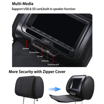7 Inch Zipper Cover Car Headrest DVD Player Infrared LCD Screen Multifunction USB Video Monitor Game HD Adjustable Speaker