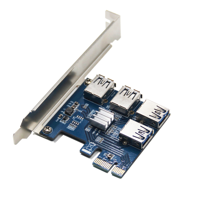 PCI-E to USB Riser Board 1 to 4 Adapter 4-port PCI-E to USB 3.0 Extender Card PCIe Port Multiplier Card Mining Accessory 5