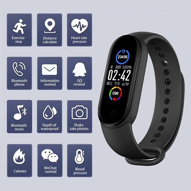 Смарт-браслет M5 IP67, водонепроницаемый спортивный Смарт-часы для мужчин и женщин, фитнес-браслет с пульсометром и тонометром для Android и IOS