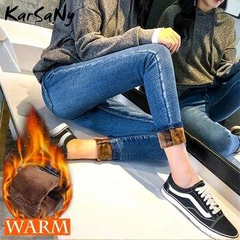Winter Warme Jeans Frauen Vintage Herbst Winter Samt Jean Femme Taille Haute Schwarz Fleece Jeans Frauen Verdicken Fleece Hosen 2019