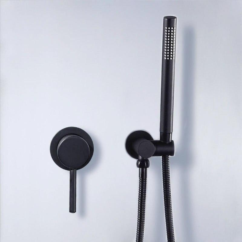 Матовый черный душевой кран Набор скрытый настенный встроенный смеситель для ванной комнаты Vlave ручная душевая головка черная латунь