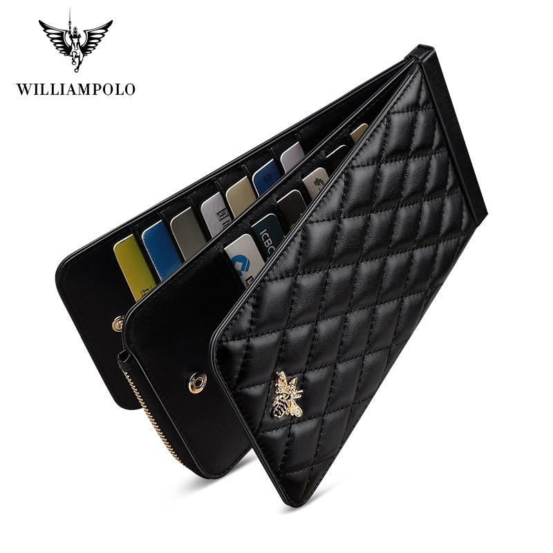 Williampolo 2021 New Women Fashion Lambskin Long Wallet Lady Phone Clutch Bag Card Holder Luxury Female Coin Purse Money Bag