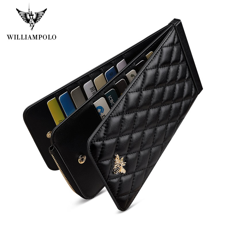 Williampolo Women Wallet Female Purse Leather Wallet Long Coin Purse Card Holder Money Clutch Multifunction