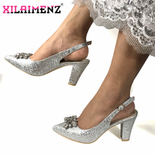 Italian Nigerian Party Shoes Without Bag Set Silver Color Fashion Slipper Wedding African Shoes Not Matching Bag Set Women Shoes