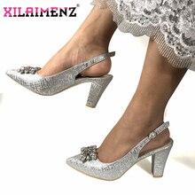Italiano Nigeriano Partito Scarpe Senza Sacchetto Set di Modo di Colore Argento Da Sposa Pantofola Scarpe Africani Non Sacchetto di Corrispondenza Set di Scarpe Da Donna