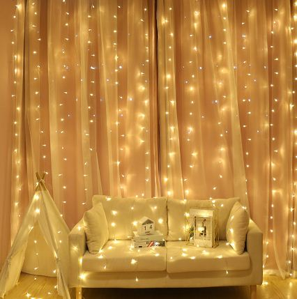 Garland Led String Light 2x2m 200LED 3x3m 300LED Curtain Icicle Chandelier Flash  Latern Fairy Decoration For Christmas Indoor