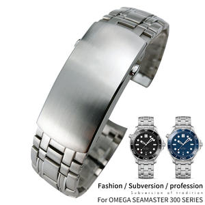 Watch-Band DIVER Silver-Strap Omega 20mm Seamaster Stainless-Steel for New 300M Calibre