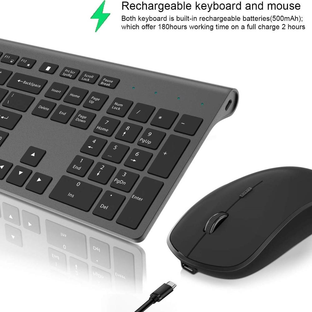 Wireless Keyboard And Mouse Ergonomic Portable Rechargeable Keyboard And Mouse,for Desktop, TV, Laptop Black Keyboard Mouse
