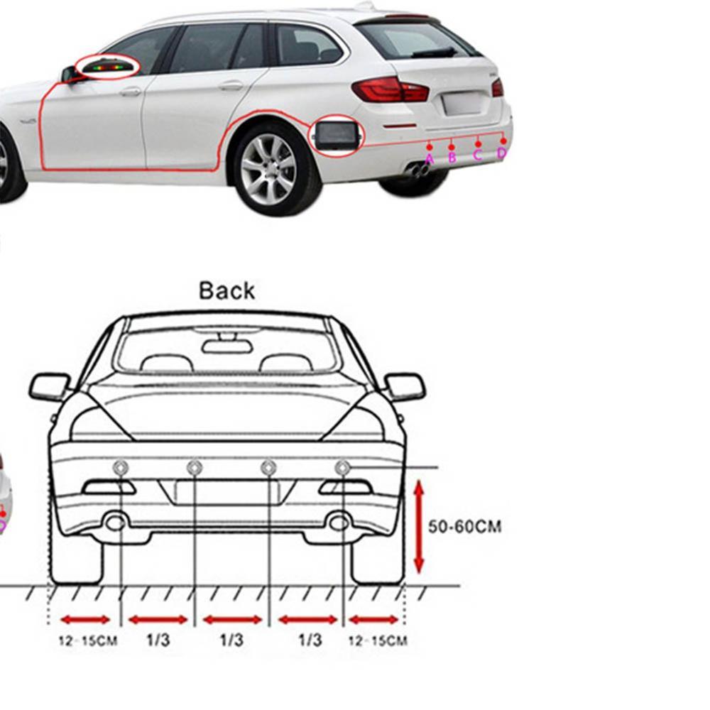 12V Auto Parkplatz Umkehr Radar Universal 4 Sonde Kleine Crescent Summer Sensor Professionelle Mode Tragbare