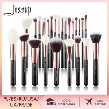 Jessup Makeup brushes set Rose Gold / Black Foundation Powder Eyeshadow Make up Brush 6pcs-25pcs