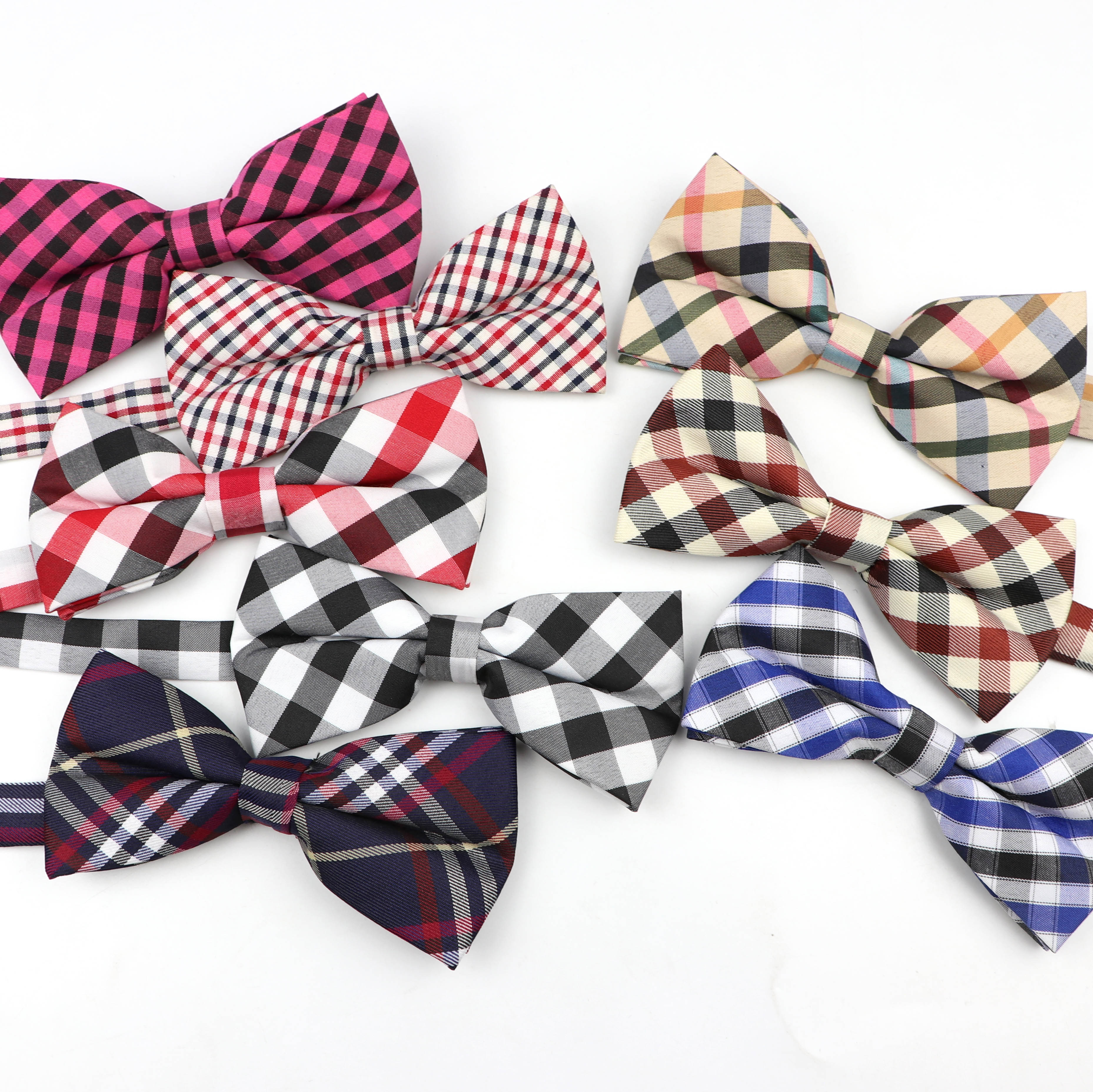Polyester Men's Bow Tie Plaid Striped Flexible Bowtie Smooth Necktie Soft Matte Butterfly Decorative Pattern Color Ties