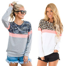 купить Autumn Pullover Sweater Woman Leopard Print Round Neck Long Sleeve Jacket Sweatshirt Shirt по цене 1236.84 рублей