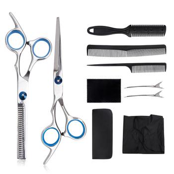 8 9 sztuk profesjonalne nożyczki fryzjerskie zestaw ścinanie włosów nożyczki nożyczki do włosów ogon grzebień włosów Cape maszynka do włosów grzebień tanie i dobre opinie YOOKIILYE CN (pochodzenie) Brak universal STAINLESS STEEL 8 10pcs Professional Hairdressing Scissors Thinning Scissors Trimmer Kit