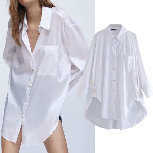 2020 New Fashion Pure white Women Blouses Long Sleeve Turn-down Collar Chiffon Blouse Shirt Casual Tops Slim Elegant Work Shirt 1