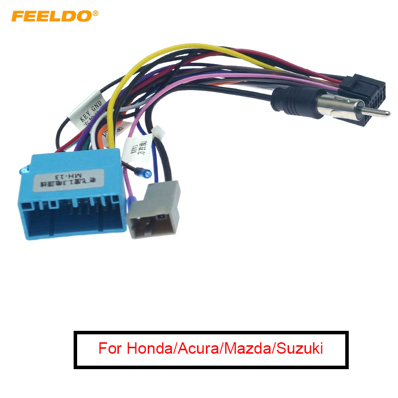 FEELDO 16-pin Car Android Aftermarket Stereo Wiring Harness Adapter For Honda/Acura/Mazda/Suzuki Original Stereo Wiring Harness