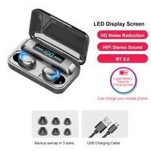 Беспроводные наушники, TWS наушники, Bluetooth 5,0, настоящие беспроводные наушники, Спортивная гарнитура с микрофоном светодиодный светодиодным ...