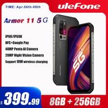 Ulefone armadura 11 5g áspero telefone móvel android 10 8gb + 256gb impermeável smartphone 48mp nfc carregamento do telefone móvel sem fio