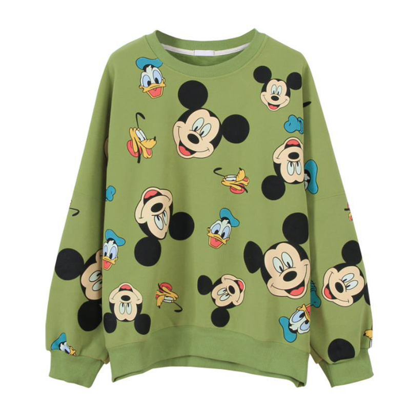 Harajuku Cartoon Comic Mickey Printing Joker Trend Pullover Sweatshirt  Lovers Kawaii Women Casual Long Sleeve Hoodies Tops