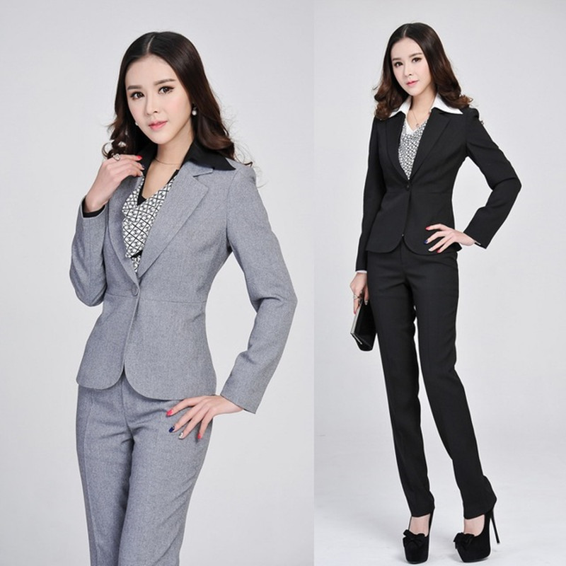 Formal Ladies Gray Blazer Women Business Suits Formal Office Suits Work 2017 Spring Winter Fashion Women Pant And Jacket Sets