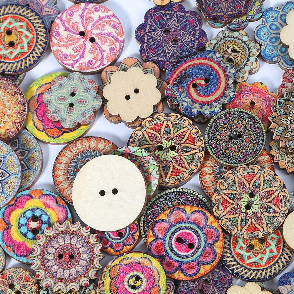 50pcs Multi Pattern Wooden Buttons Octagon Gear Round Buttons Aperture For Sewing Diy Handcraft Scrapbook Supplies Chills And Pains