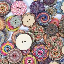 50pcs Multi modèle boutons en bois octogone engrenage boutons ronds ouverture pour la couture bricolage artisanat Scrapbook fournitures