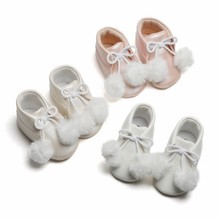 Kids Boots For Girl Autumn Children Casual Leather Boots Baby Girls Plush Ball Decor PU Shoes Walking Shoe(China)