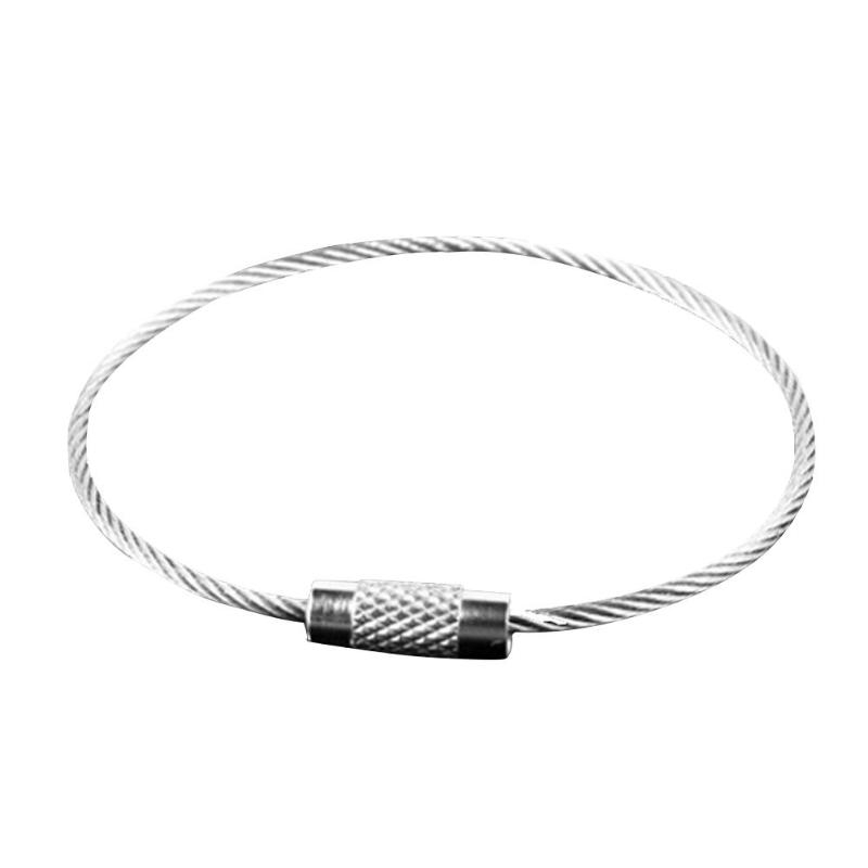 Outdoor Travel EDC Stainless Steel Wire Rope Luggage Tag Keychain Ring