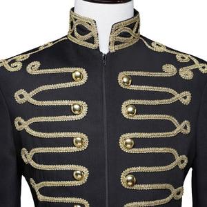 Image 3 - Shenrun Men Black Zipper Blazer Court Military Full Dress Stand Collar Host Singer Dancer Fashion Jacket DJ Party Stage Costume